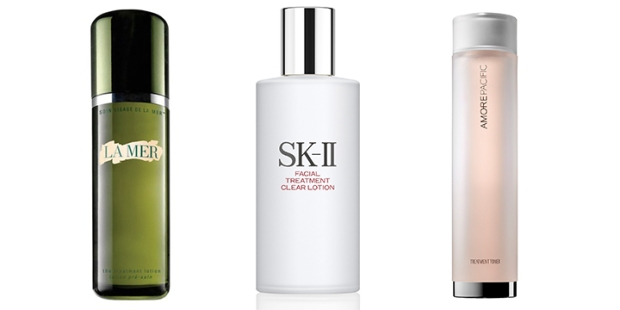 The often-confusing variations of hydrating toner names: La Mer The Treatment Lotion (American), Iope Bio Essence (Korean), SK-II Facial Treatment Essence (Japanese), Iope Bio Essence (Korean), SK-II Facial Treatment Essence (Japanese), SK-II Facial Treatment Clear Lotion (Japanese), Amorepacific Treatment Toner (Korean).