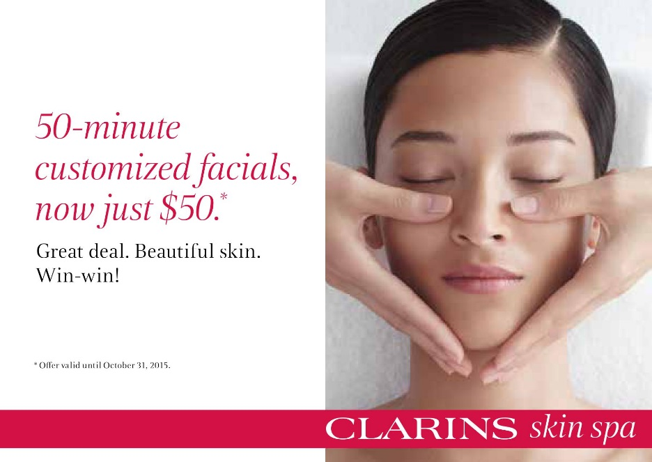 No trick treat yourself to a clarins facial for just 50 for Clarins salon