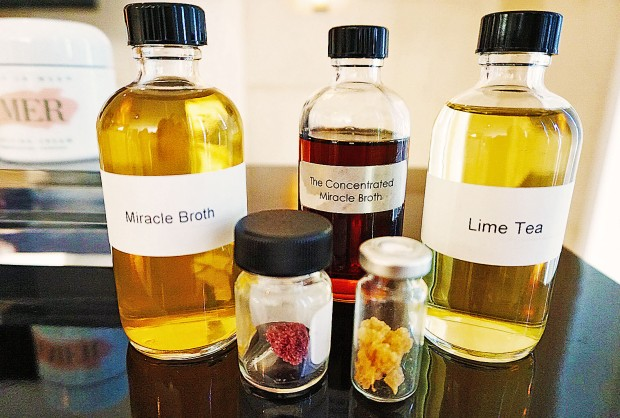 Some ingredients of La Mer's new Genaissance de la Mer, including the famed miracle broth.
