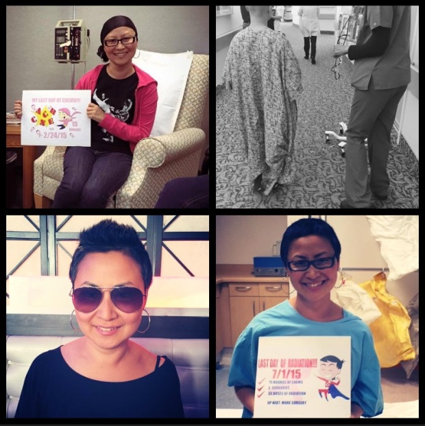 Designer Rachel Park in various stages of her cancer treatment.