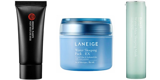 From left: Koh Gen Do Night Moisturizing Mask, Laneige Water Sleeping Pack EX, Dr. Jart+ Water Fuse Water-Max Sleeping Mask.