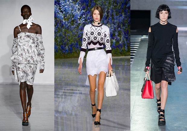 Spring 2016 looks from left: Anne Sofie Madsen, Dior, Louis Vuitton.
