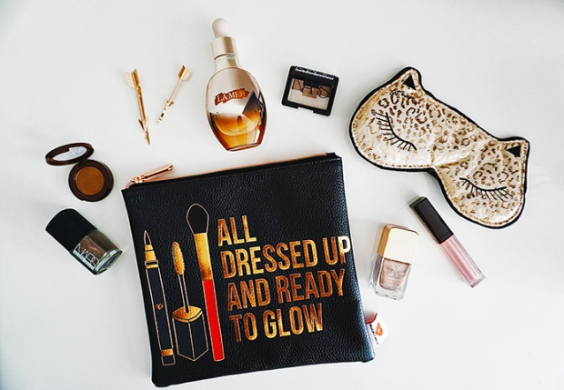 Clockwise from makeup bag: Sephora Collection
