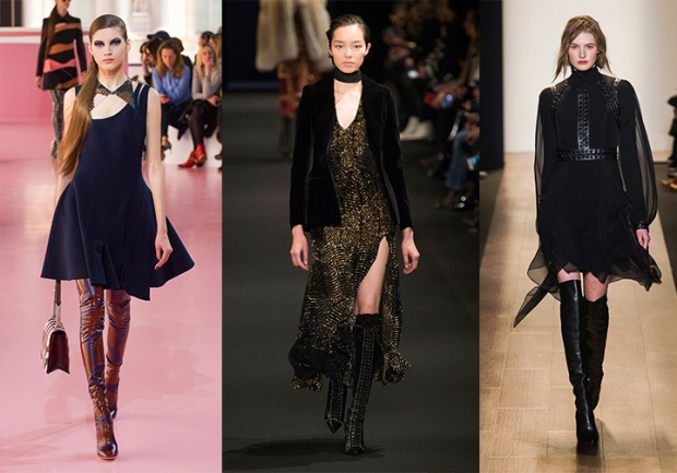 Fall 2015 looks from left: Dior, Altuzarra, BCBG Max Azria.