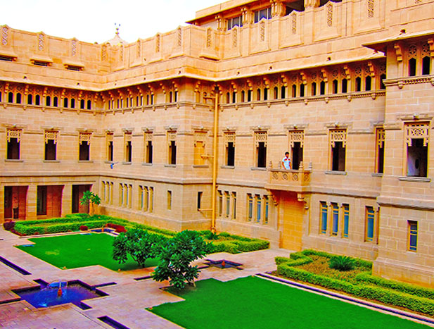 courtyard at umaid bhawan palace, voted best hotel by tripadvisor 2016