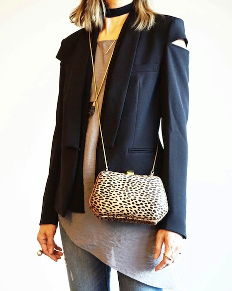 H&M cut out jacket with leopard bag