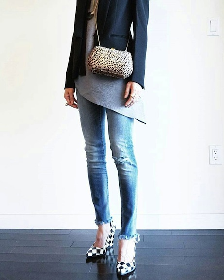 frayed jeans with jacket and tunic