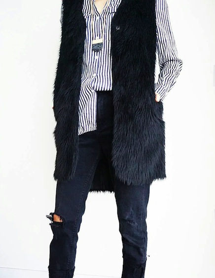 Zara fur vest with striped shirt and torn jeans