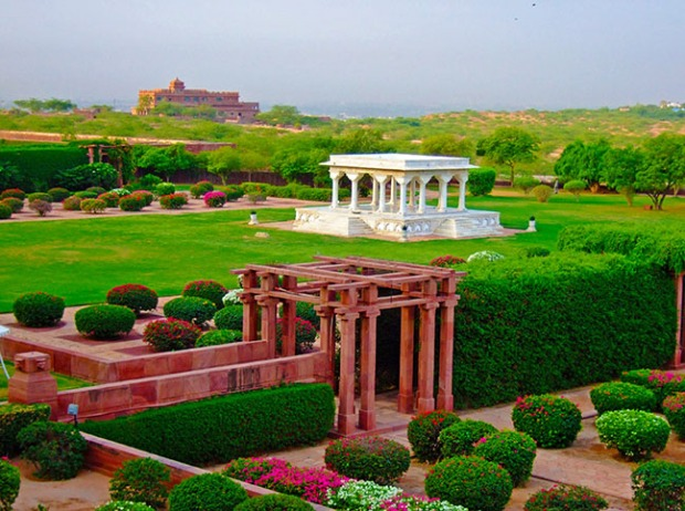 the view of the pavilion from our historical suite at the Umaid Bhawan Palace in Jodhpur