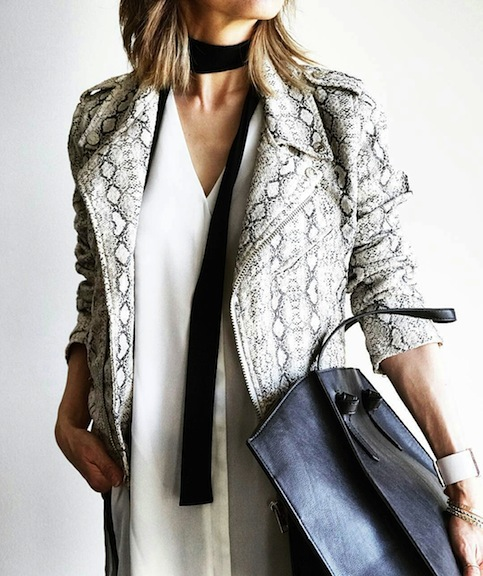 ASOS snakeskin jacket with white tunic and Zara minimalist tote