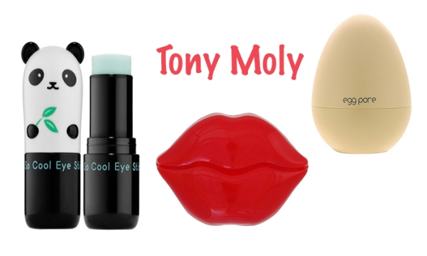 Tony Moly skin care products from Ulta including So Cool Panda stick, Kiss Kiss Lips Essence and Egg Pore Cooling Pack Mask