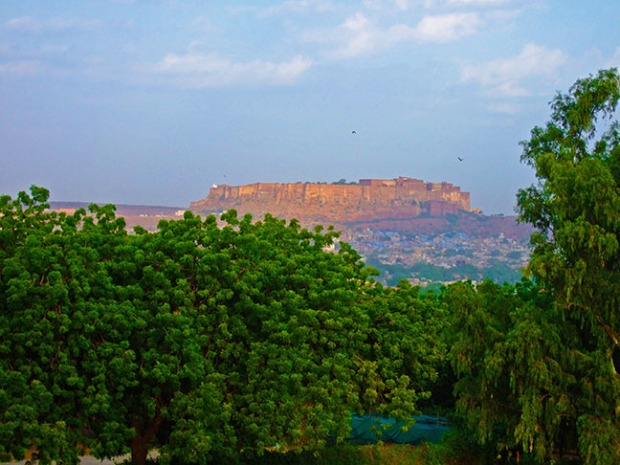 The view of Mehrangarh Fort from Umaid Bhawan Palace in Jodhpur