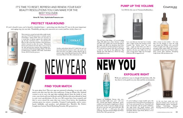New Year New You beauty resolution story for Composure Magazine issue 9