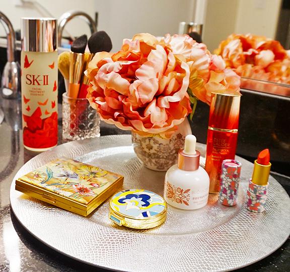 girly vanity featuring sk-ii, estee lauder, jeju blossom, tarte, mac, sephora