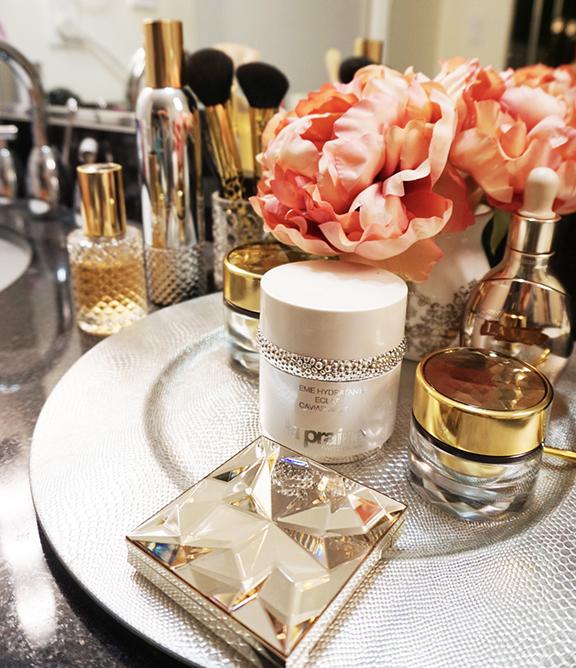 glam vanity featuring la prairie, estee lauder, la mer, cle de peau, sephora, show beauty