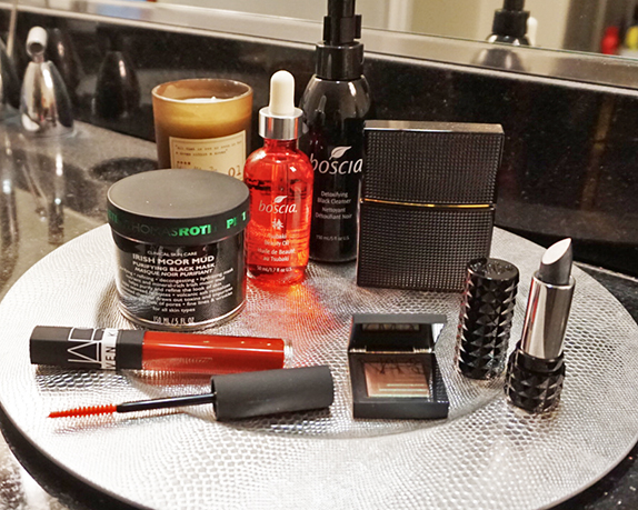 goth vanity featuring boscia, kat von d, nars, nars and steven klein, paddywax, nirvana, peter thomas roth