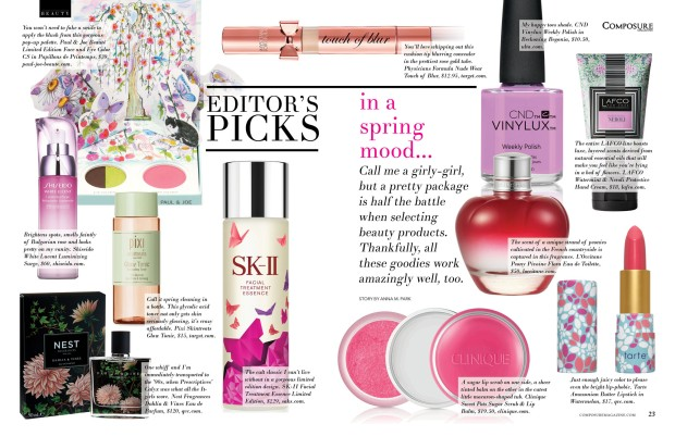 composure magazine editor's picks in a spring mood