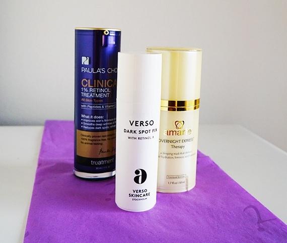 over the counter retinol skin care by amarte paula's choice verso