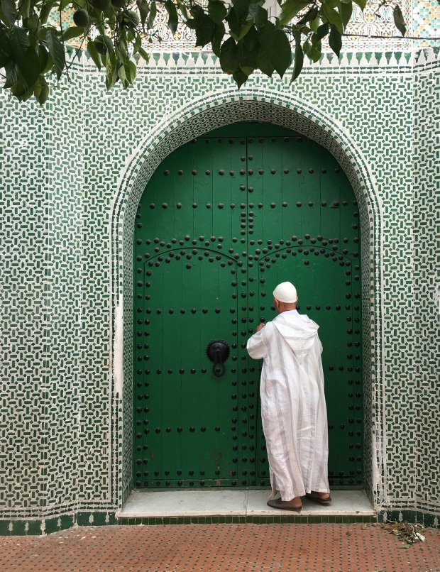 Surprise! Not everything is blue in Chefchaouen. This is a sacred tomb, awash in the color of Islam, green. We wanted to look inside, but the caretaker frowned at us.